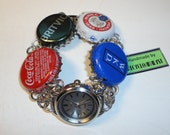 Bottlecaps Bottletops And Recycled Quartz Watch Bracelet Handmade By Recycloanalyst