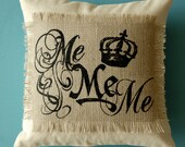 Burlap and Canvas Screen Printed Pillow Cover
