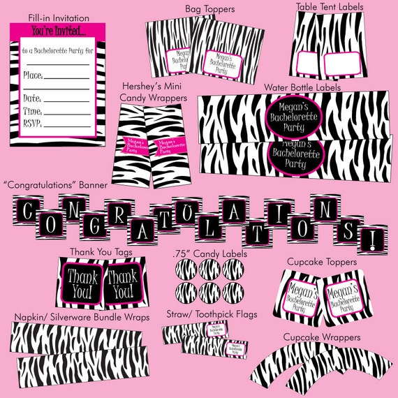 Items Similar To PRINTABLE DIY Zebra Party Package