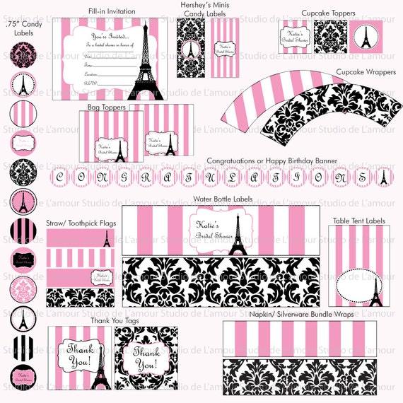 PRINTABLE Paris Theme DIY Party Kit Birthdays/ Bridal Showers/