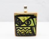 Green Owl - Glowing metallic Scrabble tile pendant