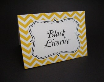 Yellow Chevron - food tent cards - Place cards -  Food sign