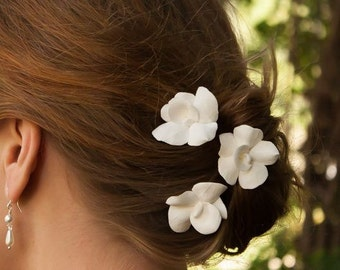 As seen on Style me Pretty Set of 3 White or Ivory Orchid Hair flowers A