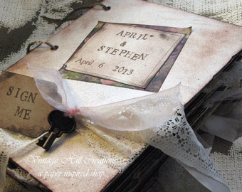 Wedding Guest Book - Vintage - Alice in Wonderland- Tea Party, Pastel - Custom, Shabby Chic