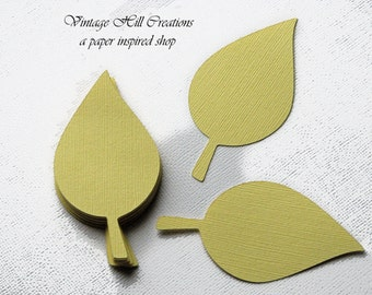 50 Paper Leaf, 4 inches - Leaves, Yellow Pollen - Wedding Place Card, Escort Card, Die Cut Tags