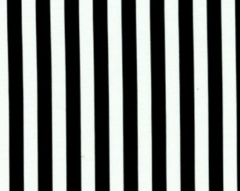 "Michael Miller Black and White Fabric, 1/4"" Clown Stripe, yardage"