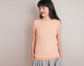 1960s Orange Tank Sweater - Vintage 60s Pastel Orange Spring Knit Top - M