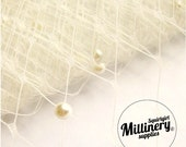 """Ivory 12"""" wide English Merry Widow Hat Veiling with Pearls, 1 yard (92cm)"""