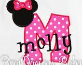 Minnie Mouse Initial Shirt, Mouse Ears Shirt, Free Personalization, Sizes 3-6months to Size 12 years