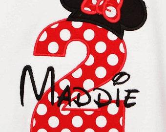 Minnie Mouse Birthday Shirt, Girls Birthday Shirt, Girls Custom Birthday Shirt, Personalized Girls Birthday Shirt, Birthday Shirt, Gift