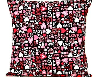 Valentine Hearts Pillow Cover Cushion Love Floral Retro Red Pink White Black Decorative 16x16