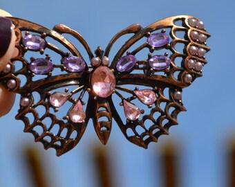 Vintage Bronze Butterfly Brooch