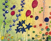 GARDEN in ABSTRACT 2 - Original  Abstract Watercolor Painting