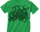 Toddler Octopus T shirt -- Octopus circle -- 2t, 3t, 4t, 5/6t  4 colors to choose from green