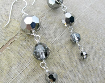 SALE 25% DISCOUNT...Cassandra Collection Swarovski Round Drop Earrings by Courtney Lee Designs-Silver Night and Sterling Silver