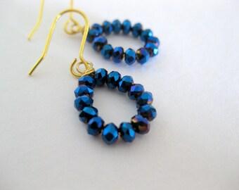dark blue navy czech beaded earrings