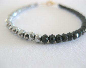 two tone black and silver czech beaded bracelet. Simple everyday jewelry.