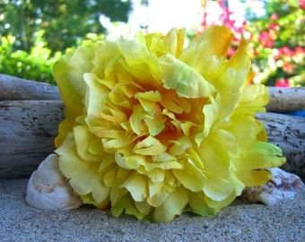 Floral Hair Clip,SUNNY YELLOW PEONY,Weddings, Spring Vacation, Summer Weddings, Beach Weddings, Flower Hair Clip,  Pinterest Trend
