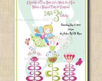 Fairy Princess Party Birthday Invitation -12 Custom and personalized. Photo optional
