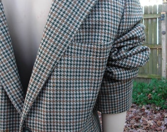 35% OFF Mens 70s Jacket/ 70s Costume/ Vintage Jacket in Houndstooth/ Vintage Sports Coat by Anderson-Little Size M