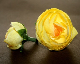 10 Yellow Baby Ranunculus - Artificial Flowers, Silk Flowers