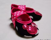 Minnie Mouse Black Dot BABY Mary Jane Play Shoes (Sizes 1 - 5) MEASURE your child's foot PLEASE
