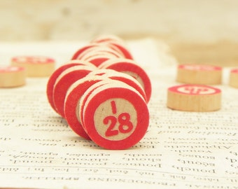 74 Vintage Wooden Bingo Game Markers Chips Red Embossed Numbers Repurpose Assemblage Collage Craft Supply