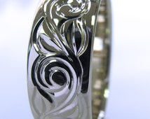 Hand Engraved Vine and Leaf Wedding/Anniversary 8mm Band in 14k White Gold Made to Order