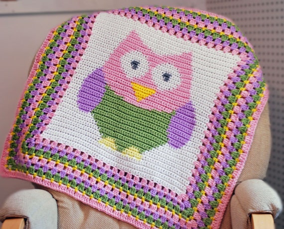 Items similar to Baby Owl Afghan Blanket - Crocheted on Etsy