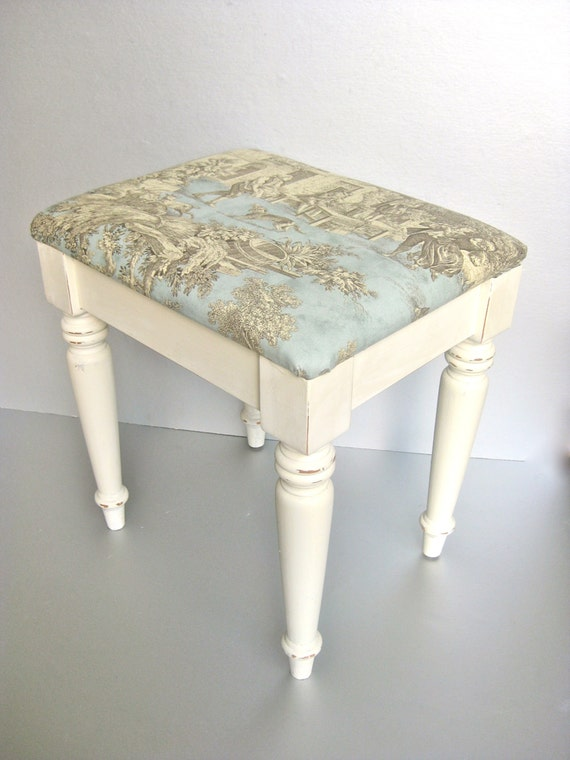 RESERVED for Kristine-French Country Bench, Vintage Bench, Toile, Shabby and Chic, Cottage Chic, Paris Apartment, Ivory Bench, Aqua