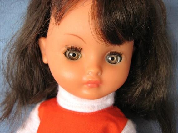 Reserved for love 2 collect Bella Brevete Doll France 13 in. 1970s Retro Mod Dressed Little Girl Plastic Doll