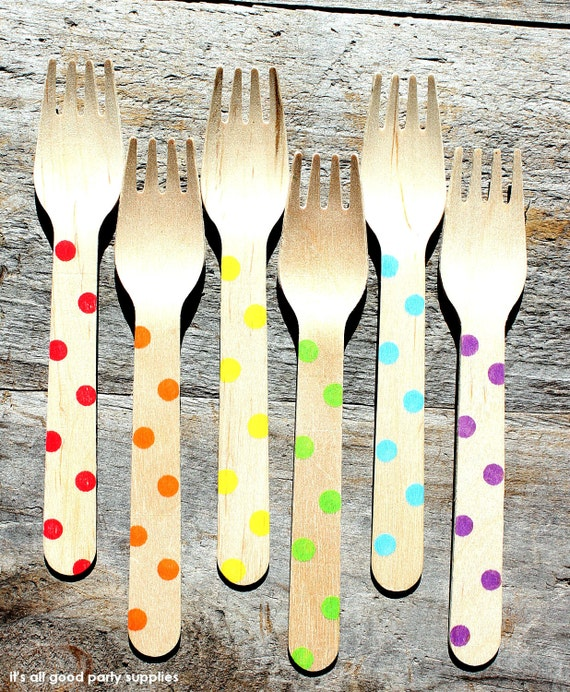 LARGE Wooden Forks with Polka Dots in BOYS Rainbow Colors - Eco-friendly Wooden Party Utensils (set of 36)
