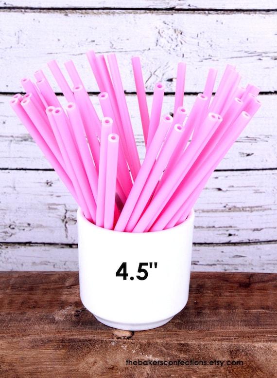 "Light Pink Lollipop Cake Pop Sticks - 4 1/2"" Plastic Sticks (30 count)"
