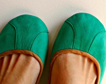 ISLANDER- Ballet Flats - Suede Shoes - 39- SEA GREEN. Available in different colours & sizes