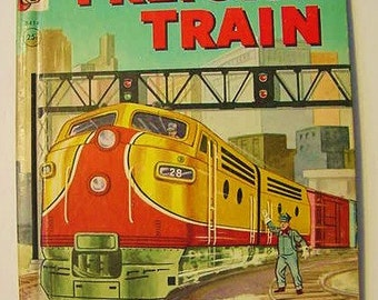 REDUCED....1956 Freight Train Rand McNally Elf Book Vintage Illustrated Railroad Children All About Trains