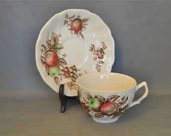 Vintage 1960s Harvest Time Johnson Bros Set of ThreeTea Cups and Saucers