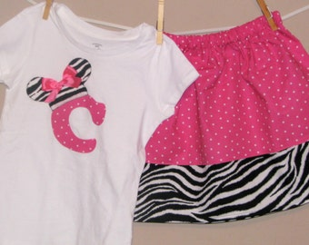 Disney Inspired Minnie Mouse Outfit - Baby Toddler Girls - Perfect for Disney Trips or Gift - Zebra Pink Dots- Brother shirt to Match