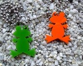 Cute Frog laser cut acrylic pendant necklace or key chain