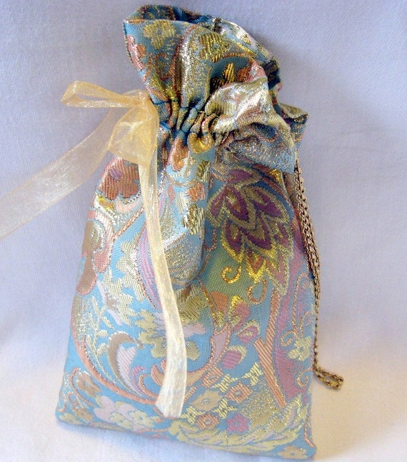 Powder Blue and Gold Brocade Gift Bags