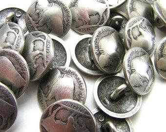 Two Buffalo  replica nickel buttons - 3/4 inch