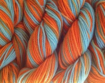 Orange Aqua Blue Dyed Yarn Hopi Land DK Sport Weight Hand Dyed Merino Wool Yarn