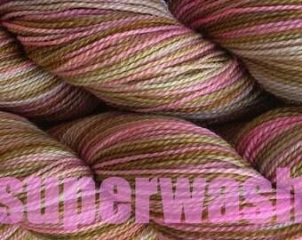 Fingering Weight Handpainted Sock Yarn in Pink Sand Superwash Pink Brown