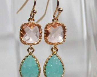 Mint Peach Teardrop and Gold dangle Earrings, Peach and Mint Blue bezel set double Drop Earrings - Bridal Petite Jewelry