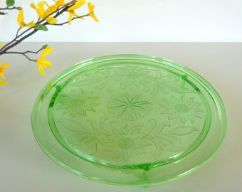 Vintage Green Depression Glass Jeannette Glass Sunflower Cake Plate
