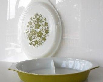 Vintage Pyrex Spring Blossom Green Oval Divided Serving Dish