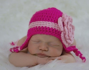 Crocheted  Pink with stripe and flower Earflap hat