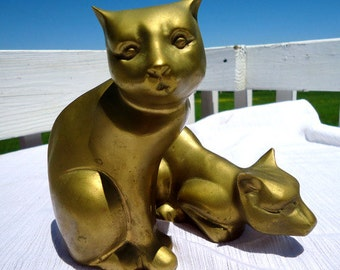 Art Deco 1930s Brass Cats Set of Two