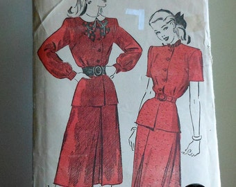 Vintage 50s Peplum Blouse and Skirt Sewing Pattern Size 13 Advance 4662