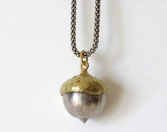 Acorn 18K and Sterling Silver Pendant