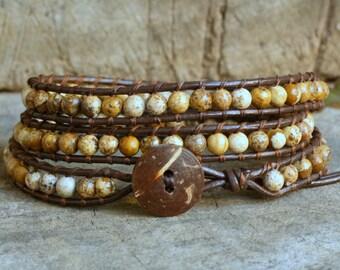 Picture Jasper 3 Wrap Leather Bracelet, coconut button